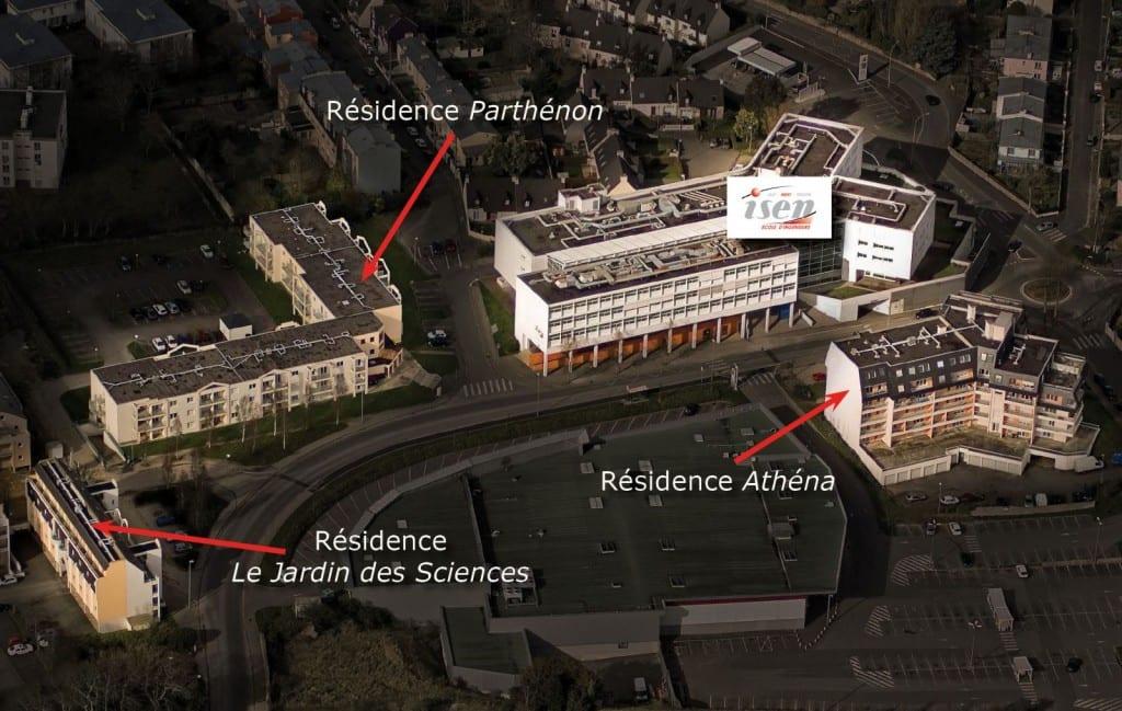 Logements, résidences proximité immédiate ISEN-Brest.